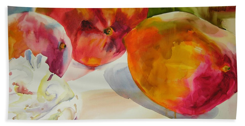 Art Hand Towel featuring the painting Mangoes by Julianne Felton