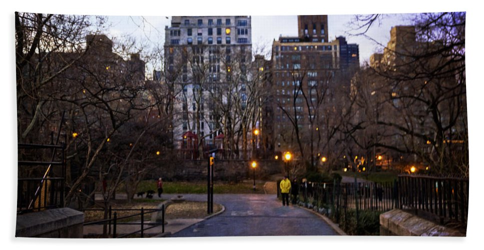 People Hand Towel featuring the photograph Manhattan At Dusk by Madeline Ellis