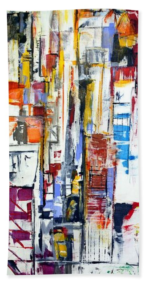 Art Hand Towel featuring the painting Manhattan Morning by Jack Diamond
