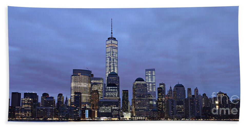 Night Hand Towel featuring the photograph Manhattan by Paul Fell