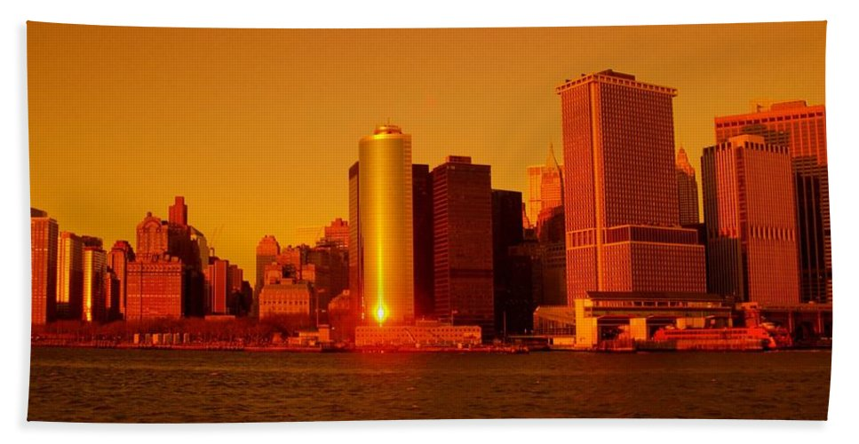 Manhattan Skyline Prints Hand Towel featuring the photograph Manhattan Skyline At Sunset by Monique's Fine Art