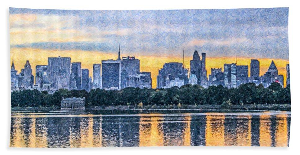 Manhattan Skyline Hand Towel featuring the digital art Manhattan Skyline From Central Park Reservoir Nyc Usa by Liz Leyden