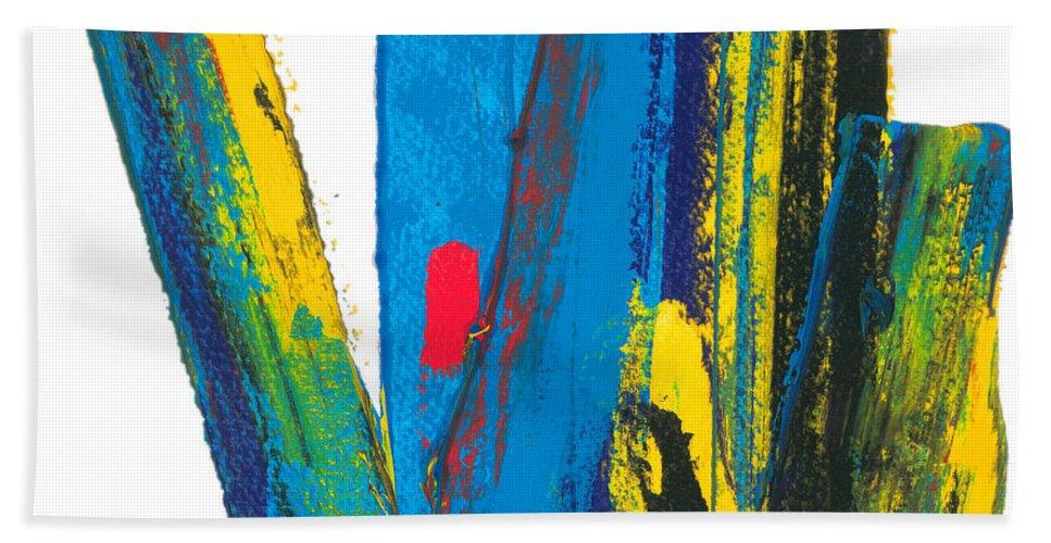 Contemporary Hand Towel featuring the painting Manhattan Skyline by Bjorn Sjogren