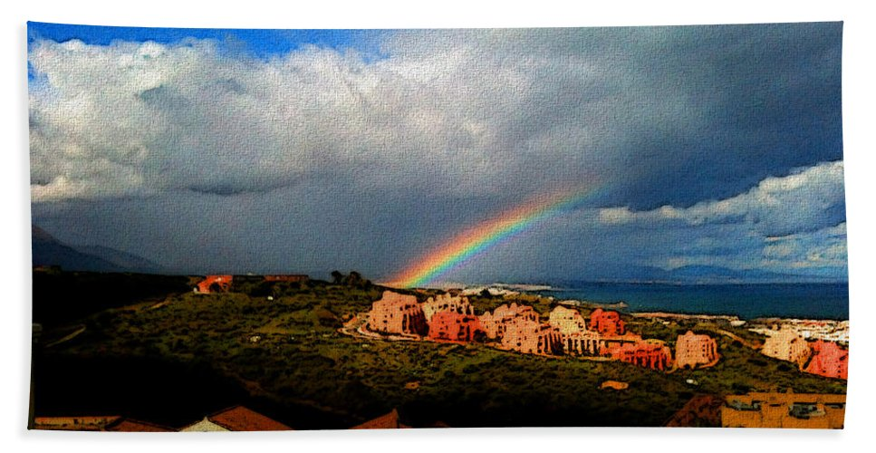 Manilva Bath Sheet featuring the photograph Spanish Landscape Rainbow And Ocean View by Carlos Tello