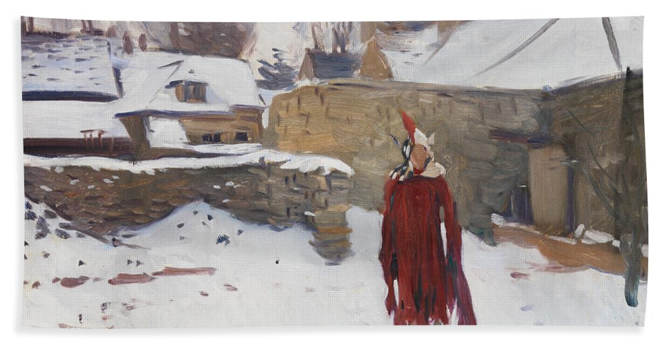 John Singer Sargent Bath Sheet featuring the painting Mannikin In The Snow by John Singer Sargent