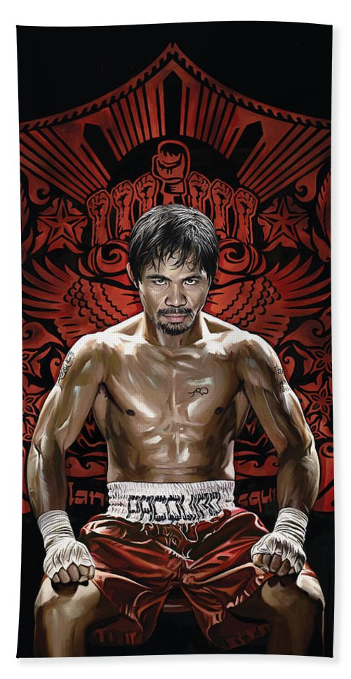 Manny Pacquiao Paintings Hand Towel featuring the painting Manny Pacquiao Artwork 1 by Sheraz A