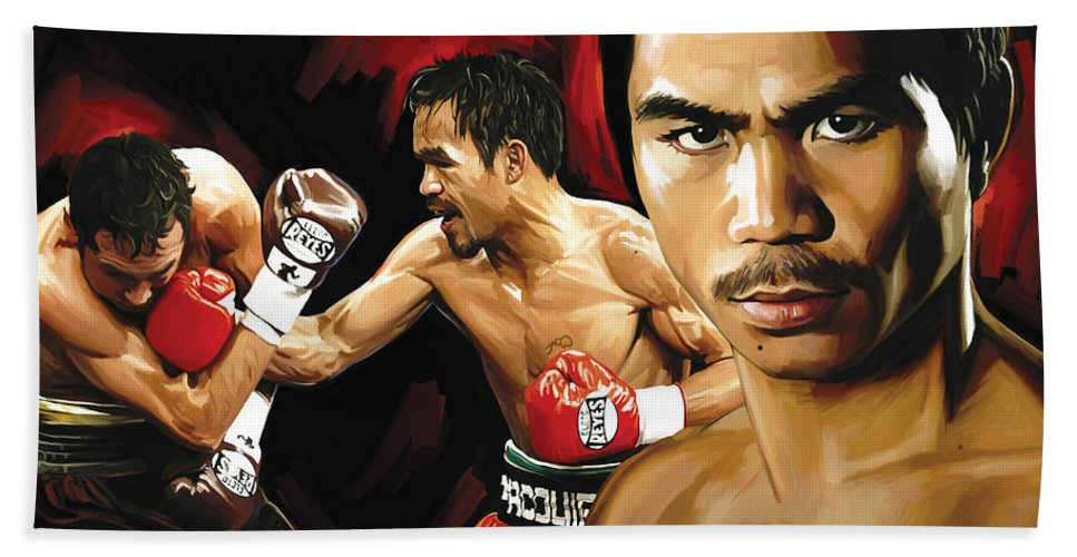 Manny Pacquiao Paintings Hand Towel featuring the painting Manny Pacquiao Artwork 2 by Sheraz A
