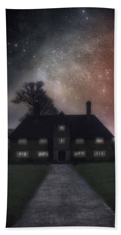 Manor Hand Towel featuring the photograph Manor At Night by Joana Kruse