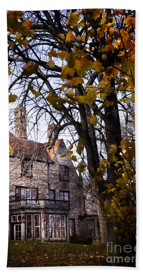 Mansion; Home; House; Outside; Fall; Autumn; Leaves; Dead; Trees; English Tudor; Outside; Outdoors; Large; Stone; Yard; Back; Stately Hand Towel featuring the photograph Manor by Margie Hurwich