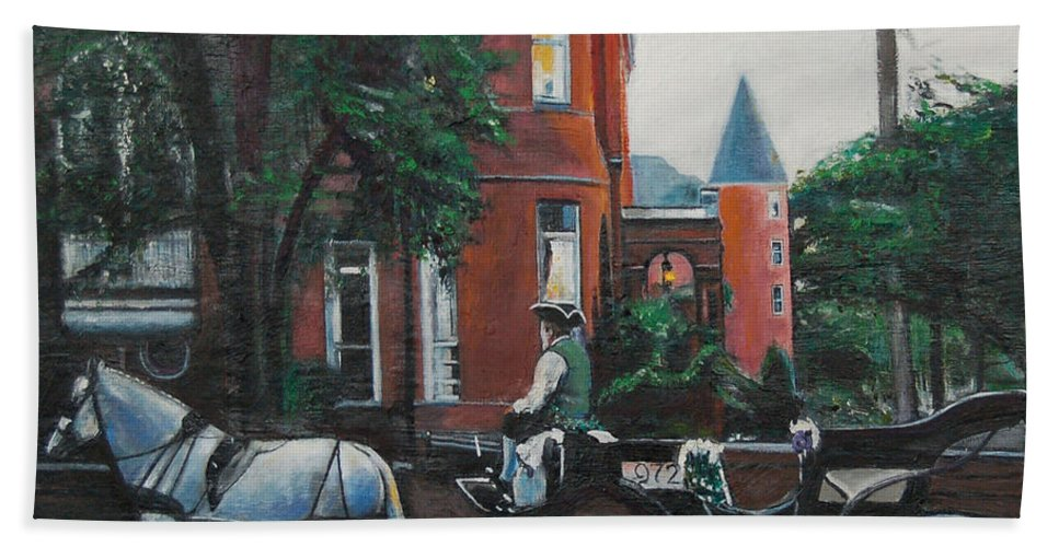Bath Towel featuring the painting Mansion On Forsythe Savannah Georgia by Jude Darrien