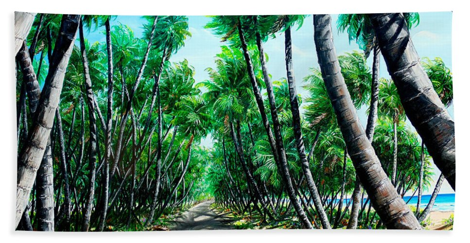 Coconut Trees Bath Towel featuring the painting Manzanilla Coconut Estate by Karin Dawn Kelshall- Best