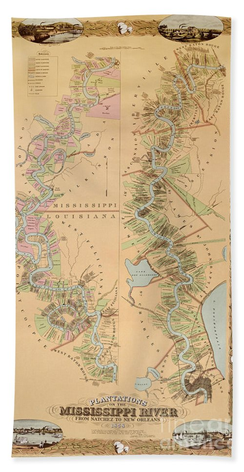 Map Depicting Plantations On The Mississippi River From Natchez To New Orleans Hand Towel featuring the drawing Map Depicting Plantations On The Mississippi River From Natchez To New Orleans by American School