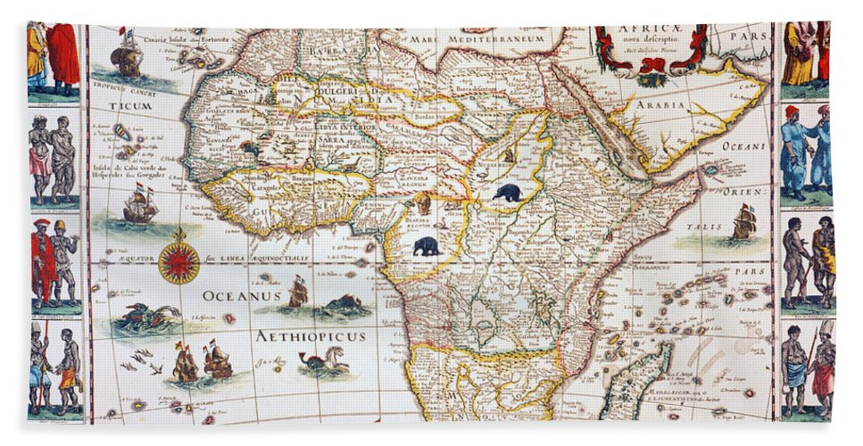 1630 Hand Towel featuring the painting Map Of Africa, 1630 by Granger