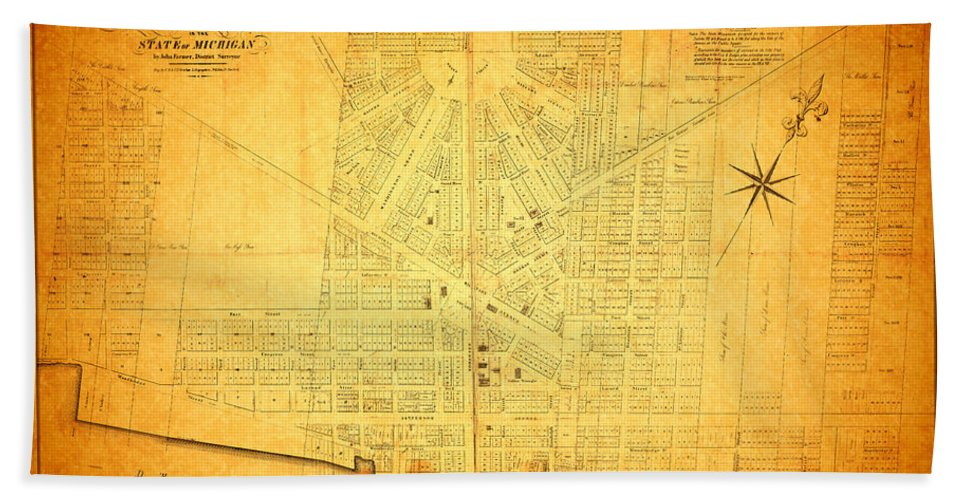 Detroit Bath Sheet featuring the mixed media Map Of Detroit Michigan C 1835 by Design Turnpike