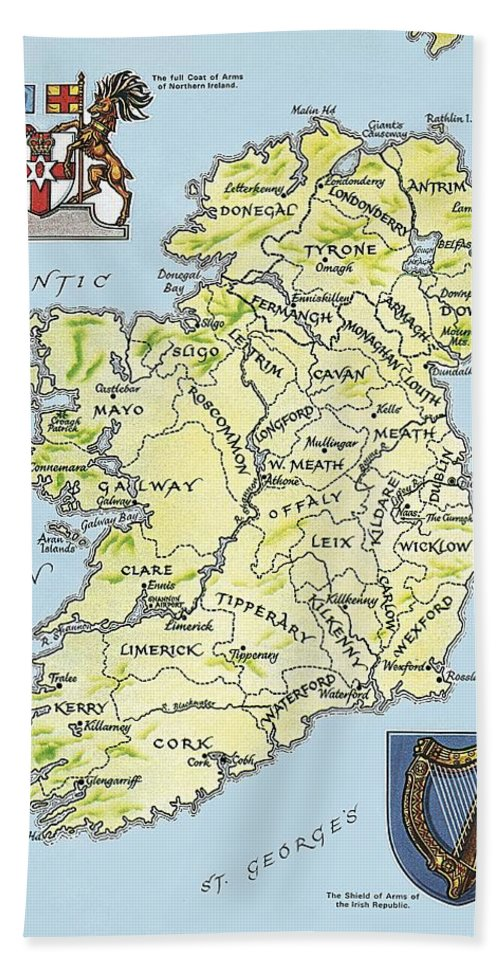 Coat Of Arms; Irish Hand Towel featuring the painting Map Of Ireland by English School