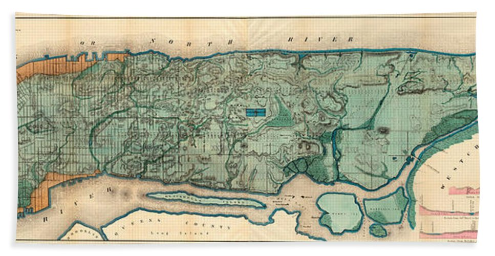 Map Bath Sheet featuring the painting Map Of Manhattan by Egbert Viele