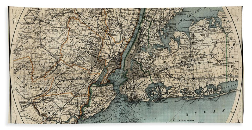 New York Bath Sheet featuring the photograph Map Of New York 1891 by Andrew Fare