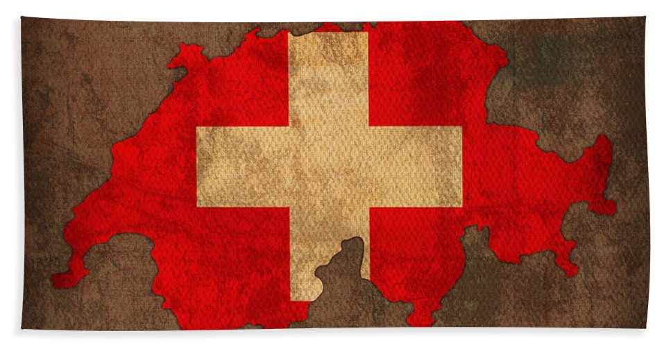 Map Of Switzerland With Flag Art On Distressed Worn Canvas Bath Sheet featuring the mixed media Map Of Switzerland With Flag Art On Distressed Worn Canvas by Design Turnpike