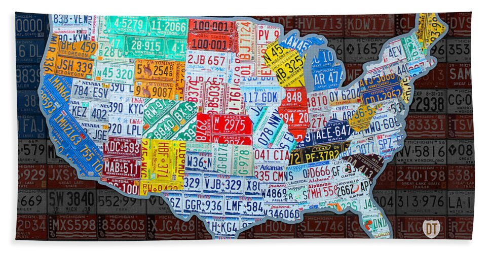 Map Of The United States In Vintage License Plates On American Flag ...