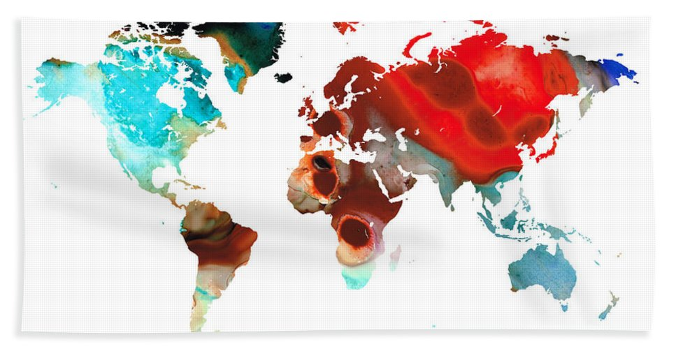 Sharon Cummings Bath Sheet featuring the painting Map Of The World 5 -colorful Abstract Art by Sharon Cummings