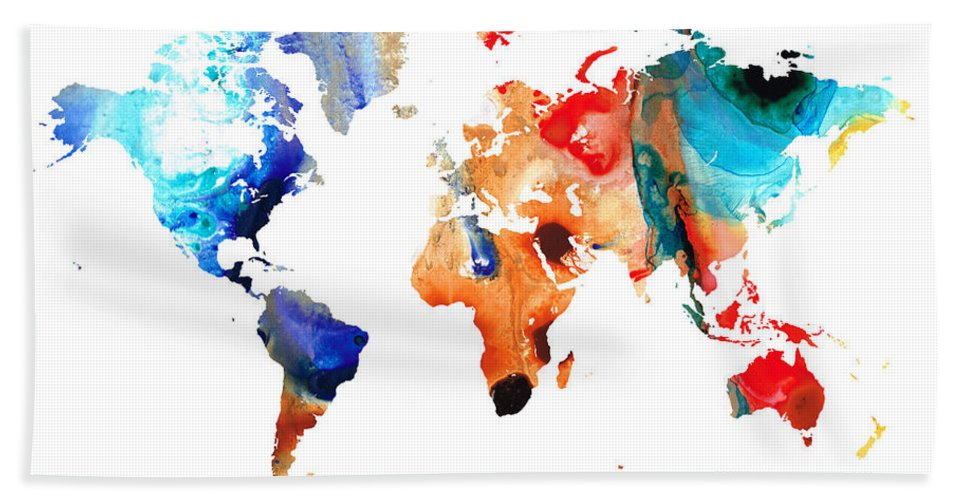 Sharon Cummings Bath Sheet featuring the painting Map Of The World 8 -colorful Abstract Art by Sharon Cummings