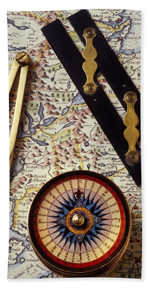 Compass Hand Towel featuring the photograph Map With Compass Tools by Garry Gay