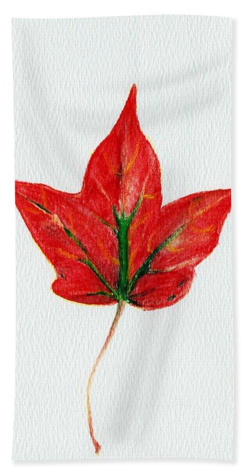Maple Hand Towel featuring the painting Maple Leaf by Anastasiya Malakhova
