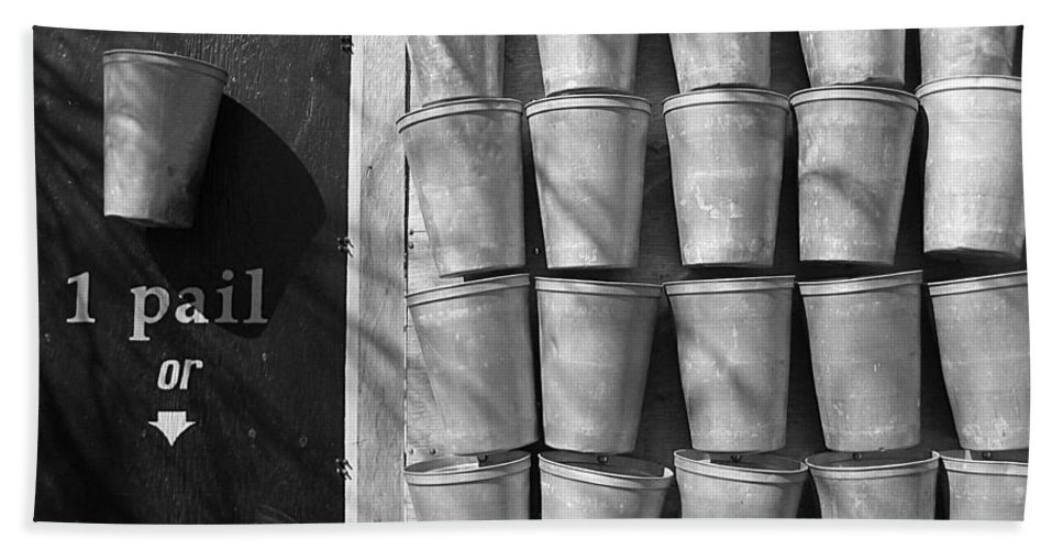 Black And White Hand Towel featuring the photograph Maple Syrup Sap Pails by Nina Silver