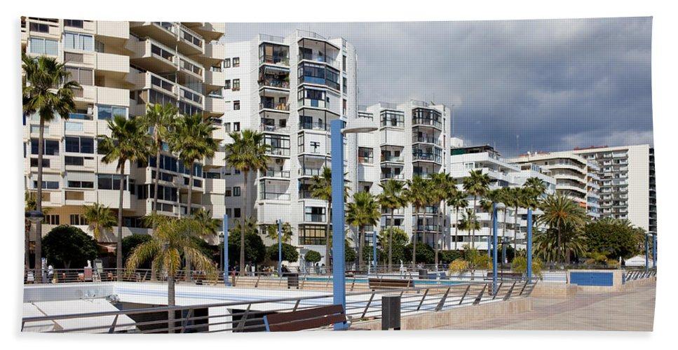 Marbella Hand Towel featuring the photograph Marbella Apartment Buildings by Artur Bogacki