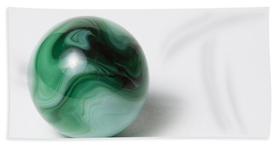 Glass Hand Towel featuring the photograph Marble Green Swirl 1 A by John Brueske