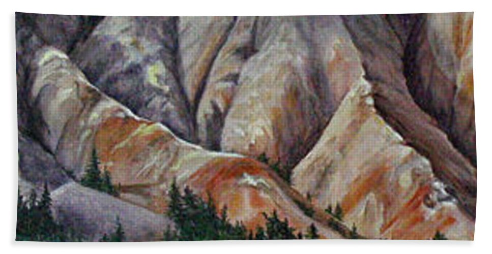 Mountains Hand Towel featuring the painting Marble Ridge by Elaine Booth-Kallweit