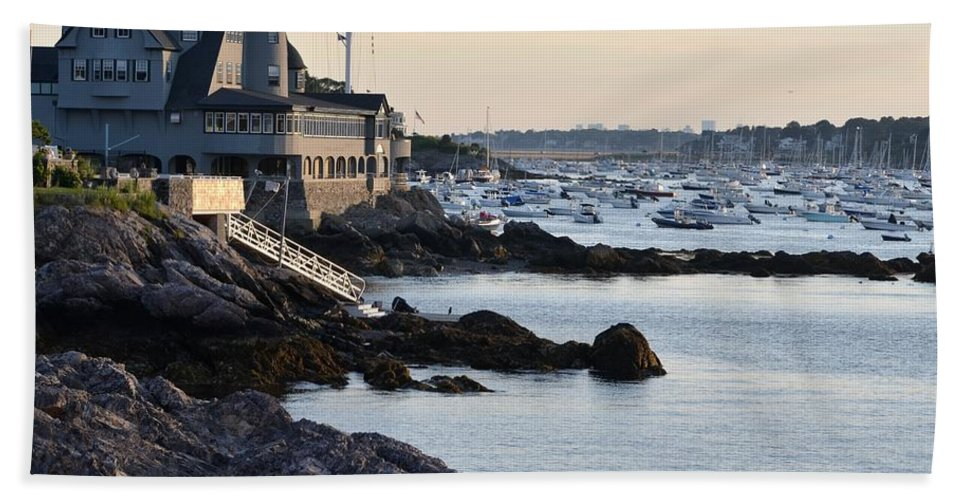Marblehead Hand Towel featuring the photograph Marblehead Harbor Chandler Hovey Park by Toby McGuire