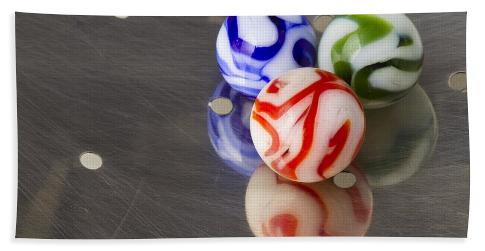 Glass Hand Towel featuring the photograph Marbles Strainer 2 by John Brueske