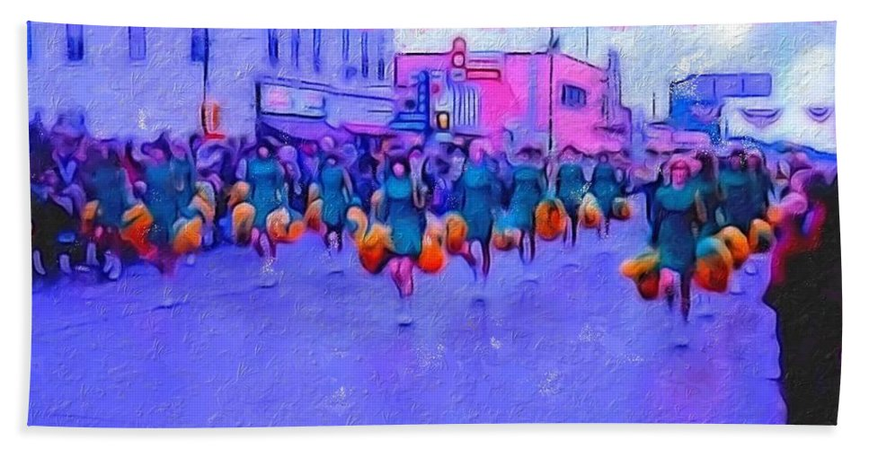 Hand Towel featuring the digital art Marching In The Parade by Cathy Anderson