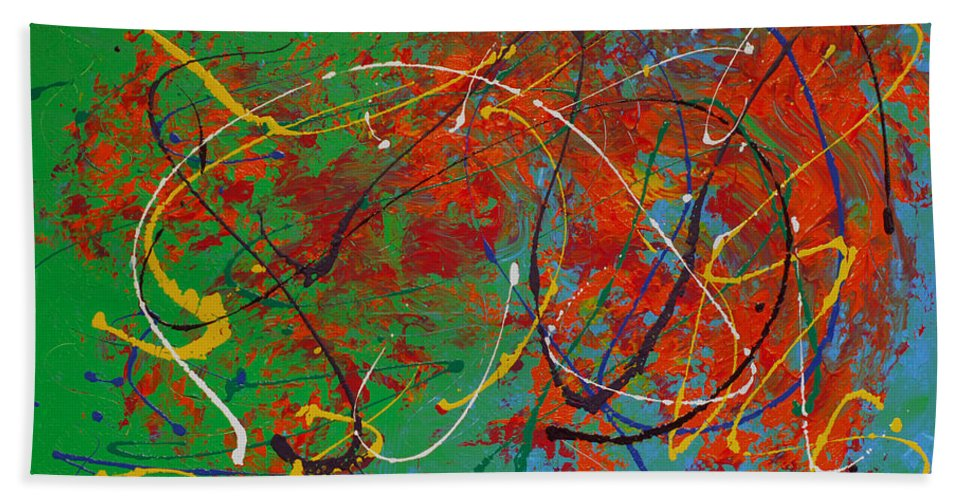 Bold Abstract Bath Sheet featuring the painting Mardi Gras by Donna Blackhall