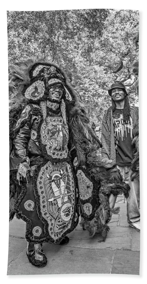 Mardi Gras Indians Hand Towel featuring the photograph Mardi Gras Indian Monochrome by Steve Harrington