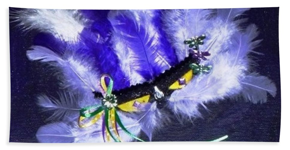 Mixed Media Hand Towel featuring the painting Mardi Gras On Purple by Alys Caviness-Gober