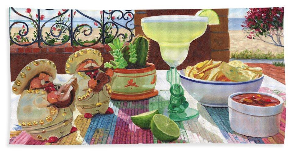 Cocktail Bath Sheet featuring the painting Mariachi Margarita by Steve Simon