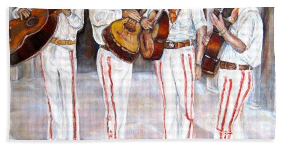 Mariachis Bath Sheet featuring the painting Mariachi Musicians by Carole Spandau