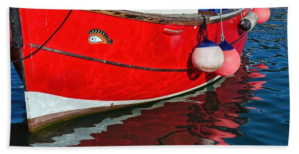 Lyme-regis Bath Sheet featuring the photograph Marie F At The Harbour by Susie Peek