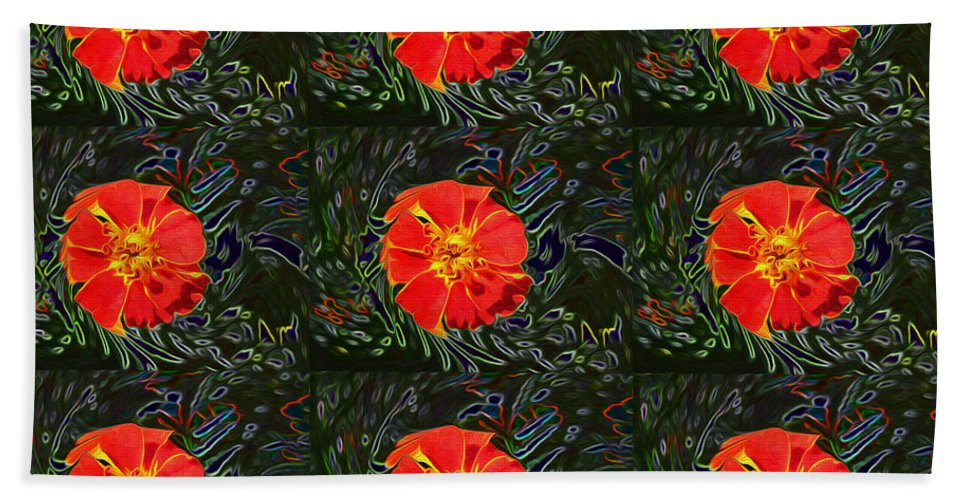 Abstract Bath Sheet featuring the photograph Marigold Mighty by Kathy Bassett