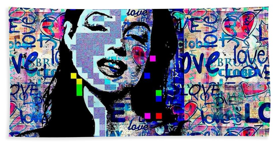 Marilyn Monroe Digital Art Hand Towel featuring the painting Marilyn Monroe 3 Loved.lost.loved Again by Saundra Myles