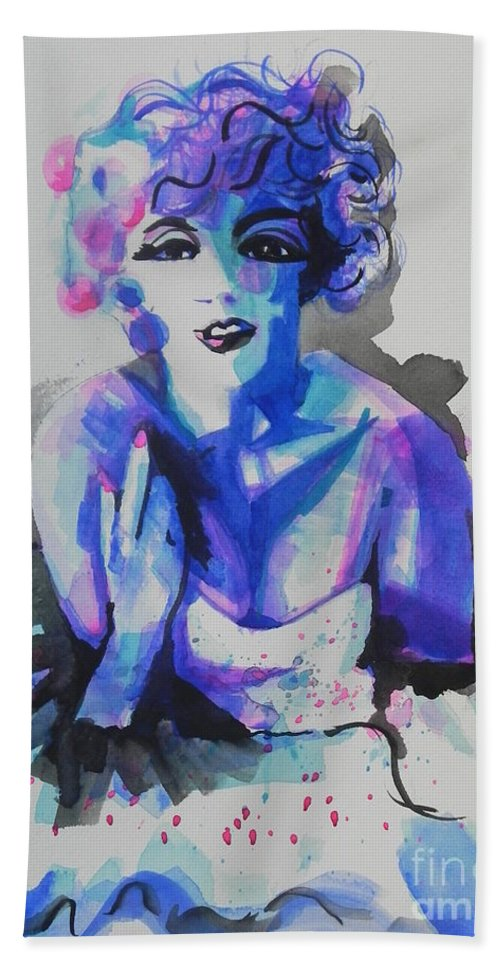 Watercolor Painting Bath Sheet featuring the painting Marilyn Monroe 03 by Chrisann Ellis