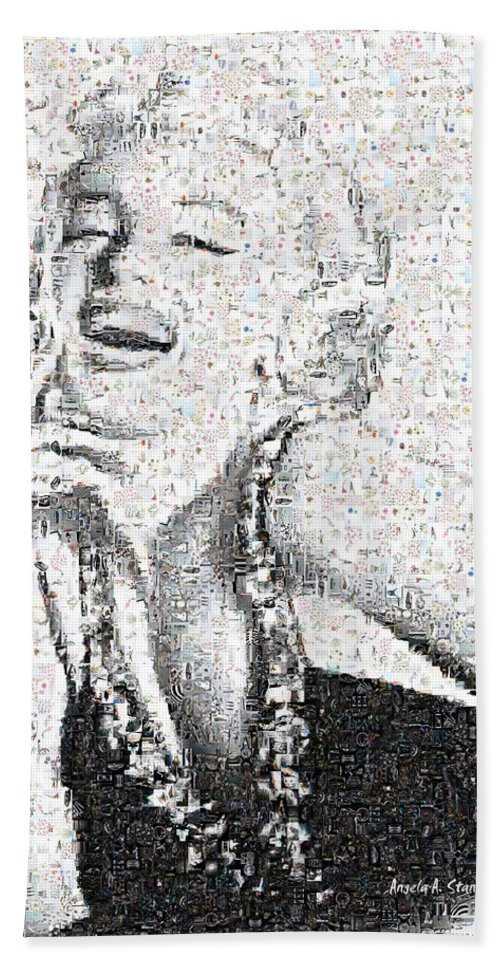 Marilyn Bath Sheet featuring the photograph Marilyn Monroe In Mosaic by Angela Stanton