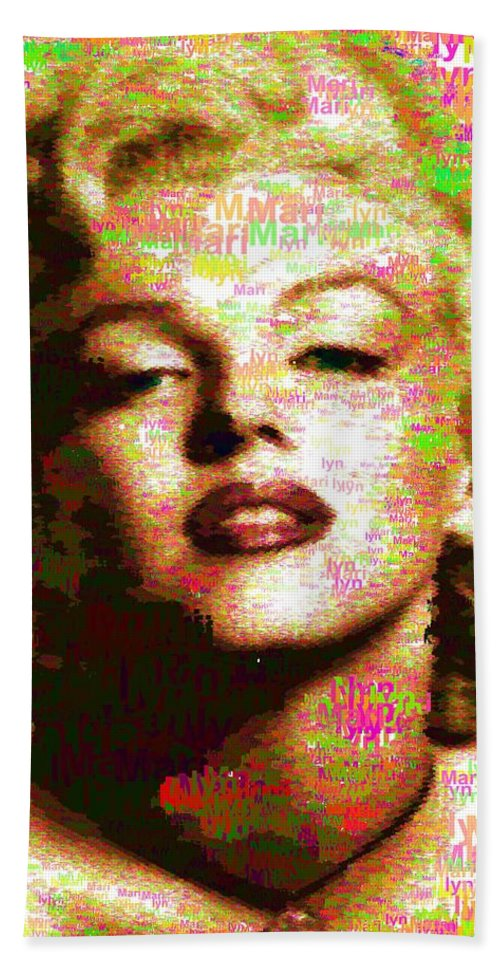 Marilyn Hand Towel featuring the painting Marilyn Monroe Name Characters by Samuel Majcen