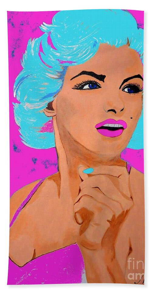 Marilyn Monroe Hand Towel featuring the painting Marilyn Monroe Undisputed Beauty by Saundra Myles