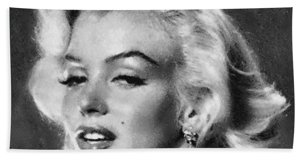 Marilyn Monroe Hand Towel featuring the painting Beautiful Marilyn Monroe Unique Actress by Georgi Dimitrov