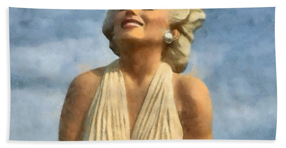 Barbara Snyder Hand Towel featuring the digital art Marilyn Monroe Watercolor by Barbara Snyder