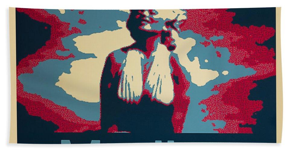 Barbara Snyder Bath Sheet featuring the digital art Marilyn Poster by Barbara Snyder