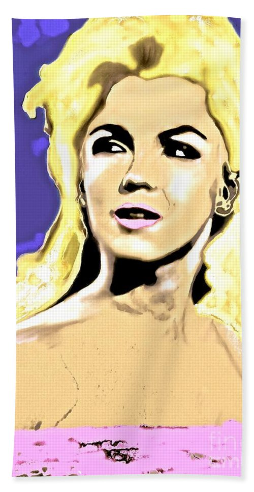 Marilyn Bath Sheet featuring the painting Marilyn What A Beautiful Girl by Saundra Myles